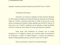 Sessão Ordinária de 04/12, transferida para 11/12/2017.