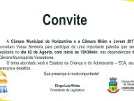 Convite para Palestra sobre o ECA-Estatuto da Criança e do Adolescente