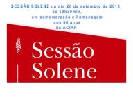 SESSÃO SOLENE 26/09/2018 EM HOMENAGEM AOS 50 ANOS DA ACIAP.